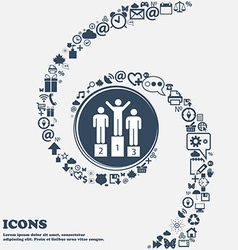 Winners Icon in the center Around the many vector image