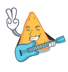 With guitar nachos mascot cartoon style vector
