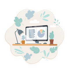 working place office desk vector image
