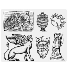 ancient greece antique symbols ganymede and eagle vector image