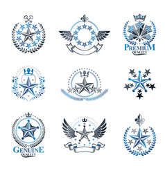 Ancient stars emblems set heraldic design vector