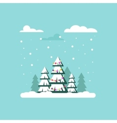 Christmas tree with garland clouds snow - vector image
