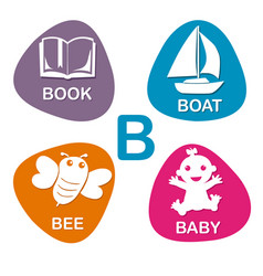 cute alphabet in b letter for book boat vector image