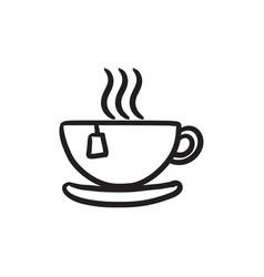Hot tea in cup sketch icon vector