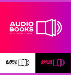 icon library audio book logo vector image