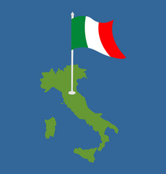italy map and flag italian banner and land area vector image