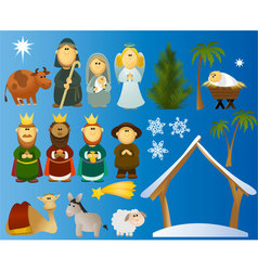 Set of Christmas scene elements vector image vector image