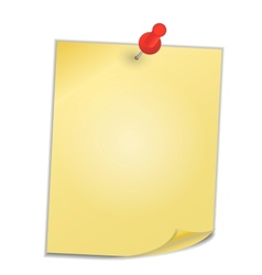 Yellow paper with pin on white background vector image
