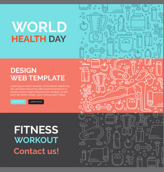 fitness template with line icons vector image vector image