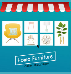flat design concept online shopping furniture and vector image vector image