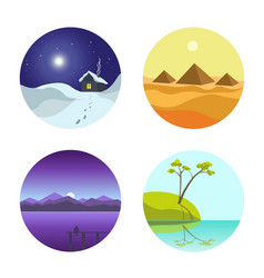 Four landscape colorful round pictures isolated on vector