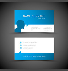 modern simple blue business card template with vector image