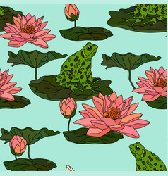 seamless pattern with water lily vector image vector image