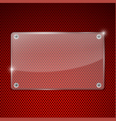 transparent acrylic plate on red perforated vector image
