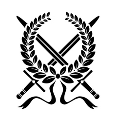 Victory wreath with crossed swords vector image vector image