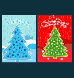 christmas poster with a christmas tree vector image