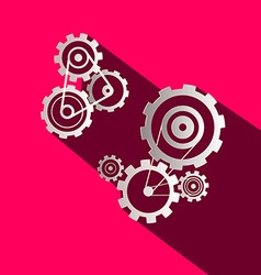 Flat Design Paper Cogs - Gears on Pink Background vector image