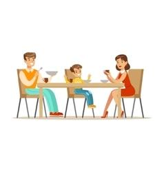 Mom Dad And Son Having Breakfast Happy Family vector image vector image