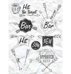 Set emblem of Bar Boom Arrow crumpled paper vector image vector image