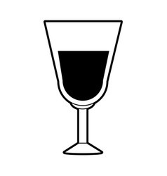 sketch silhouette image glass cup with wine vector image vector image