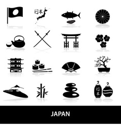 black simple japan theme icons set eps10 vector image vector image