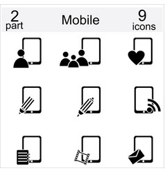 Set of mobile phone and human icons vector image