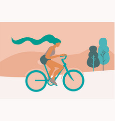 A woman riding a bicycle vector