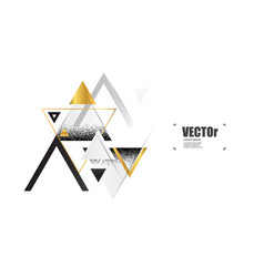 Abstract gold geometric background with triangles vector