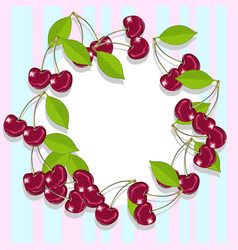 an empty frame of juicy and ripe cherries vector image