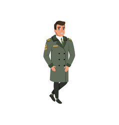 Aviation officer in green coat with rank stripes vector
