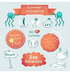Beach graphic set with labels and inscriptions vector image