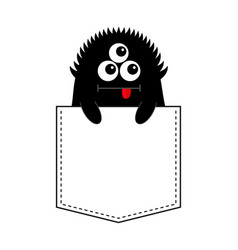 Black monster silhouette in the pocket holding vector