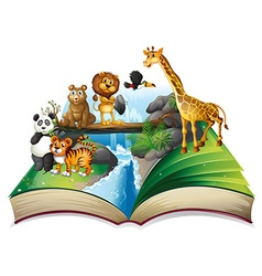 book wild animals at waterfall vector image