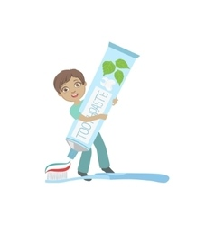 Boy Squeezing Giant Toothbaste Tube On Toothbrush vector