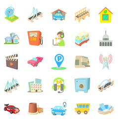 Burg icons set cartoon style vector