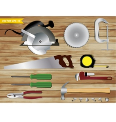 Carpentry tools on wooden texture background vector image