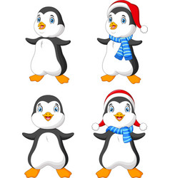 cartoon christmas penguin collection vector image