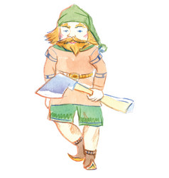 character gnome with ax fairytale vector image