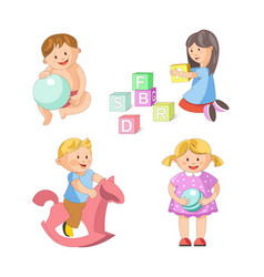 children little boys girls playing toy games vector image