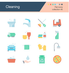 cleaning iconsflat design collection 46 for vector image