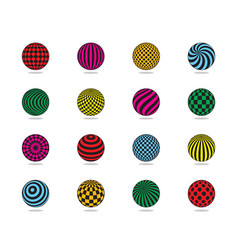 color balls set striped ball check dots pattern vector image