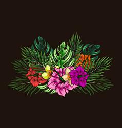 colorful tropical floral bouquet vector image
