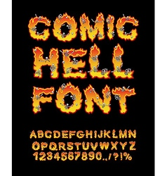 Comic Hell font inferno ABC Fire letters Sinners vector