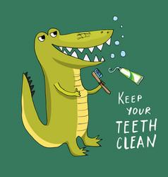 Cute croccodile with toothbrush cartoon animal vector
