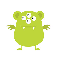 Cute green monster icon happy halloween cartoon vector