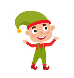 cute little christmas boy elf smiling vector image