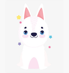 Cute white dog domestic cartoon animal pets vector