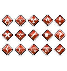 Danger round corner warning sign set vector