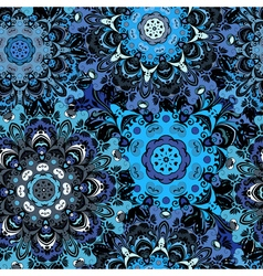 Deep blue colored seamless pattern with eastern vector image
