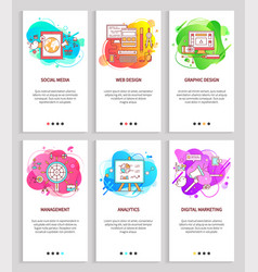 digital marketing and social media abstract set vector image